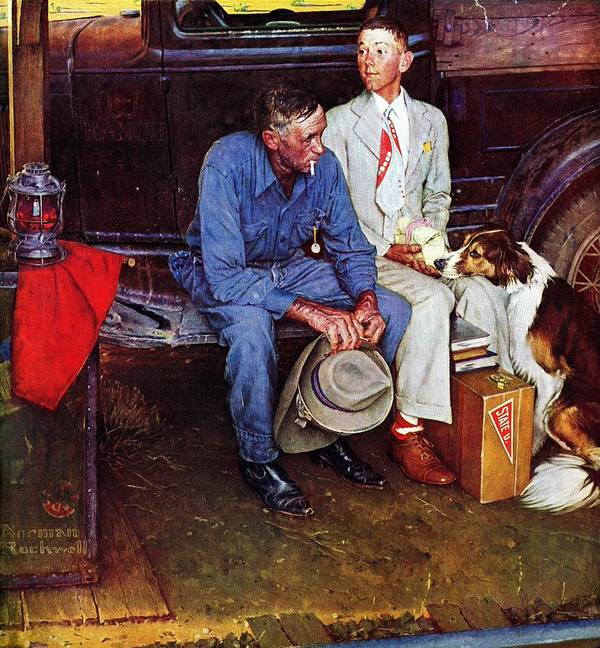 College Art Print featuring the drawing Breaking Home Ties by Norman Rockwell