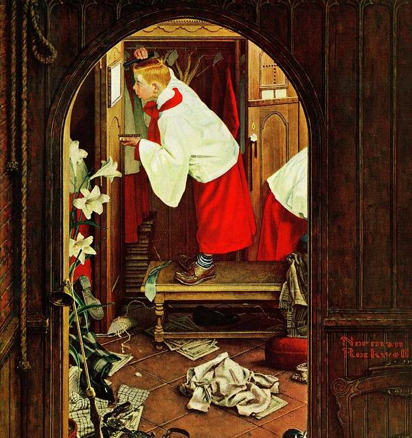 Choirboys Art Print featuring the drawing choirboy by Norman Rockwell