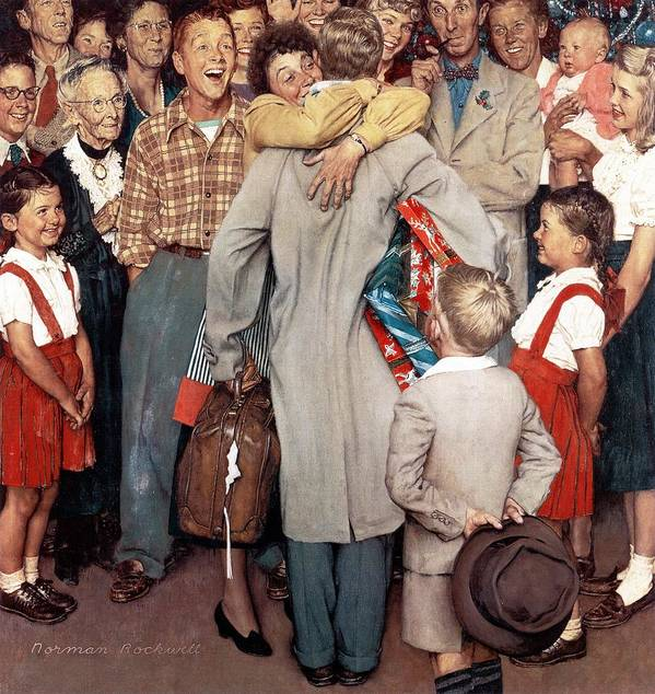 Christmas Art Print featuring the drawing Christmas Homecoming by Norman Rockwell