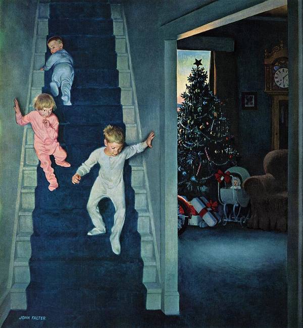 Children Art Print featuring the drawing Christmas Morning by John Falter