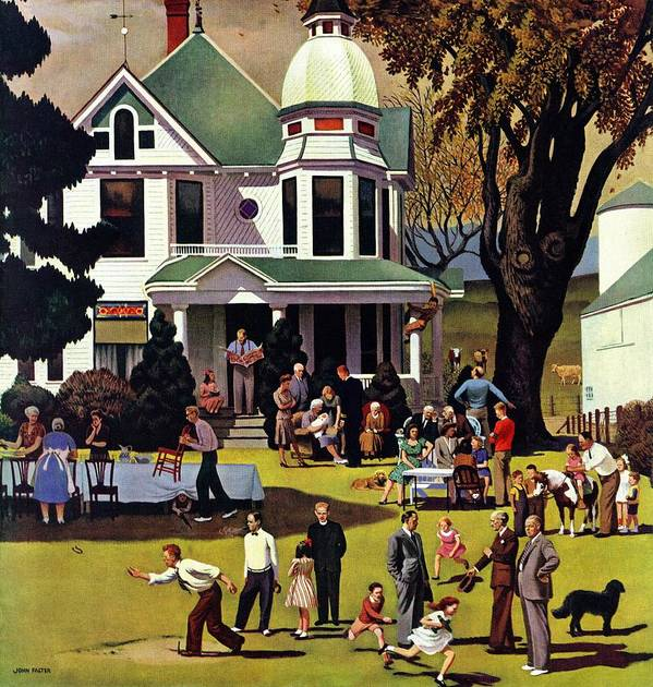 Families Art Print featuring the drawing Family Reunion by John Falter