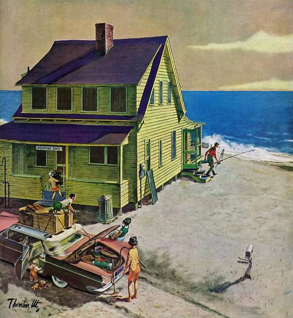 Beaches Art Print featuring the drawing Fathers Off Fishing by Thornton Utz