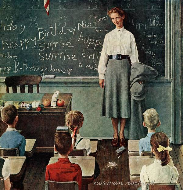 Birthdays Art Print featuring the drawing happy Birthday, Miss Jones by Norman Rockwell