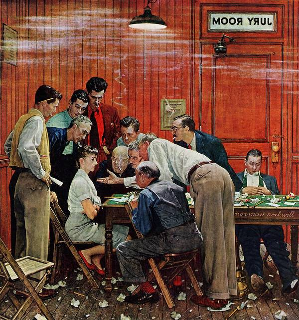 Courtroom Art Print featuring the drawing Holdout by Norman Rockwell