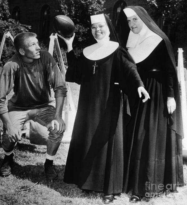 Mid Adult Women Art Print featuring the photograph Johnny Unitas Teaches Nuns How To Throw by Bettmann