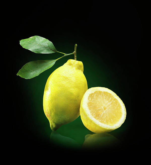Black Background Art Print featuring the photograph Lemon Slice by Jeremy Hudson