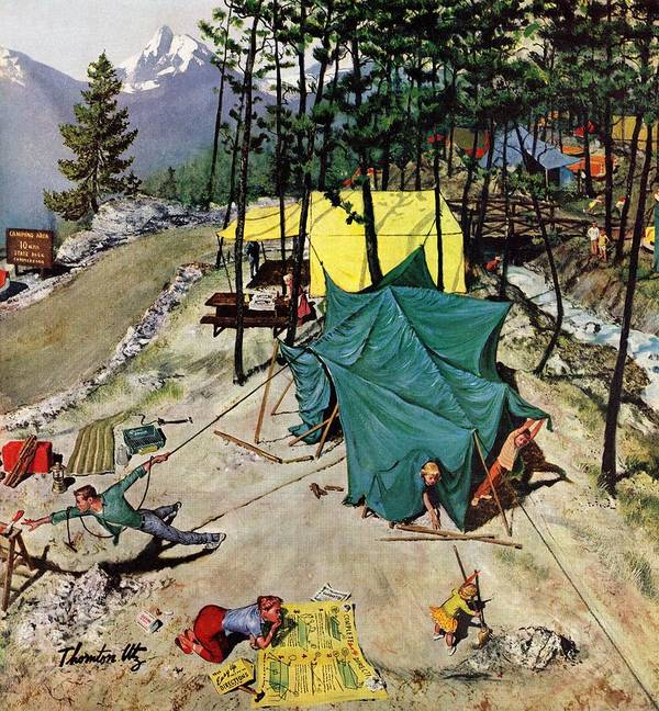 Camping Art Print featuring the drawing Making Camp by Thornton Utz