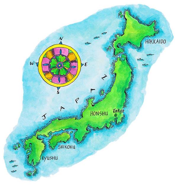 Hokkaido Art Print featuring the digital art Map Of Japan by Jennifer Thermes
