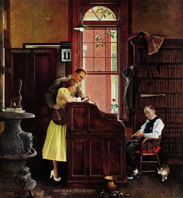 Clerks Art Print featuring the drawing Marriage License by Norman Rockwell