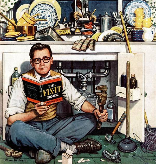 Books Art Print featuring the drawing Mr. Fix-it by Stevan Dohanos