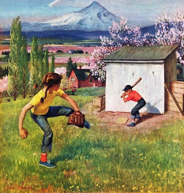 Baseball Art Print featuring the drawing Oregon Baseball by John Clymer