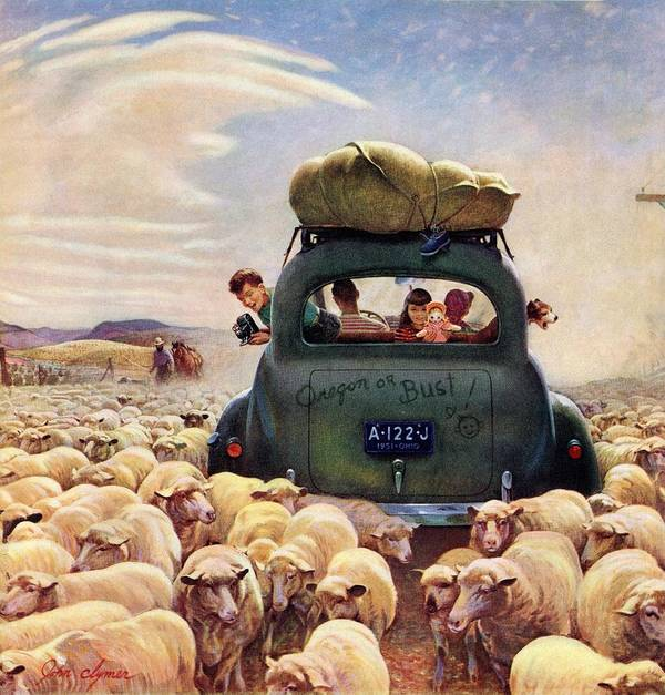 Automobiles Art Print featuring the drawing Oregon Or Bust by John Clymer