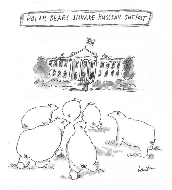 Polar Bears Invade Russian Outpost Art Print featuring the drawing Polar Bear Invasion by Mary Lawton