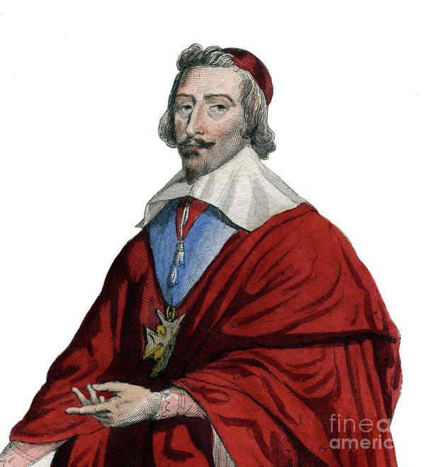 Cardinal Richelieu Art Print featuring the painting Portrait Of Cardinal Richelieu, Armand Jean Du Plessis by French School