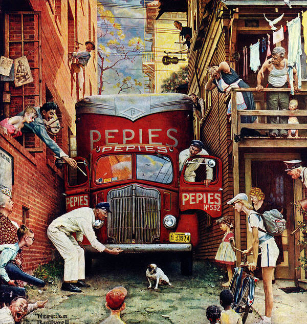Alleys Art Print featuring the drawing Road Block by Norman Rockwell