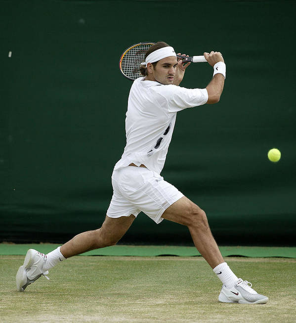 Sjeng Schalken Art Print featuring the photograph Roger Federer Of Switzerland In Action by Phil Cole