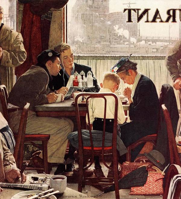 Eating Art Print featuring the drawing Saying Grace by Norman Rockwell