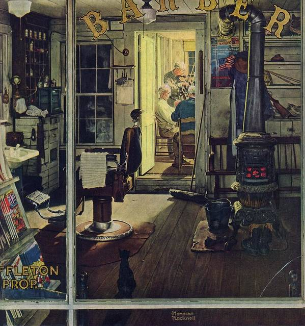 Barbers Art Print featuring the drawing Shuffleton's Barbershop by Norman Rockwell