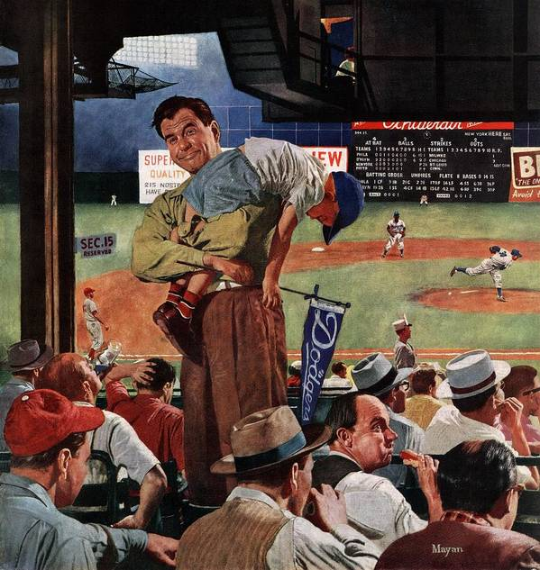 Baseball Art Print featuring the drawing Sleepy Inning by Earl Mayan