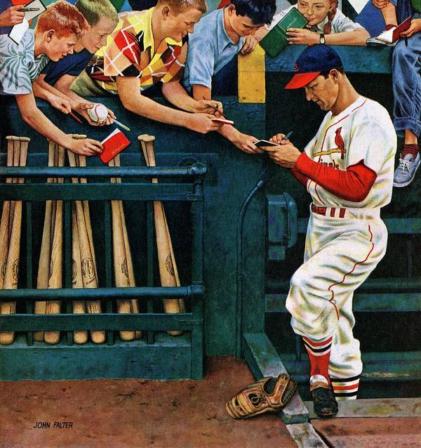 Autographs Art Print featuring the drawing Stan The Man by John Falter