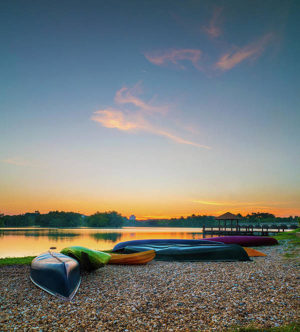 Tranquility Art Print featuring the photograph Sunset At Kayak Putrajaya Lake by Muhammad Hafiz Bin Muhamad