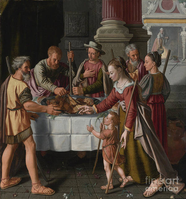 Banquet Art Print featuring the drawing The First Passover Feast by Heritage Images