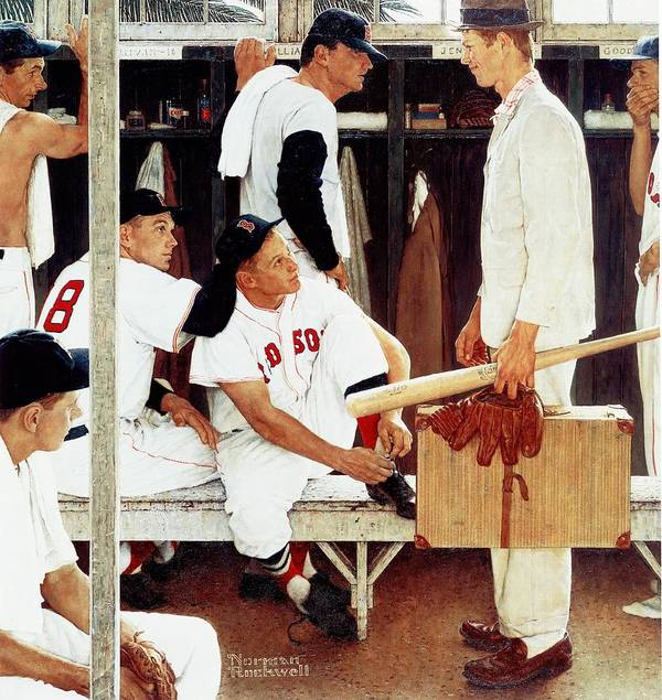 Baseball Art Print featuring the drawing the Rookie by Norman Rockwell