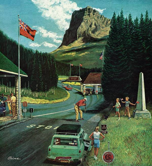Borders Art Print featuring the drawing U.s./canadian Border At Waterton-glacier by Ben Kimberly Prins