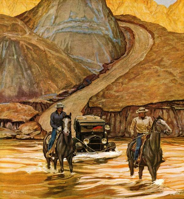 Automobiles Art Print featuring the drawing Westward Tow by Mead Schaeffer