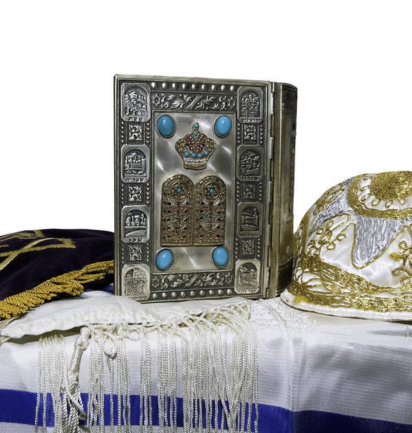 Education Art Print featuring the photograph Antique Jewish Bible, Yarmulka & Tallis by JodiJacobson
