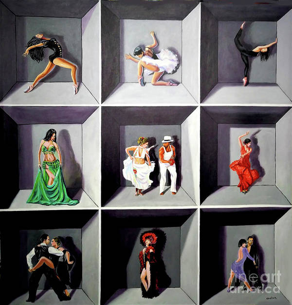 Dancing Art Print featuring the painting Dancers by Jose Manuel Abraham