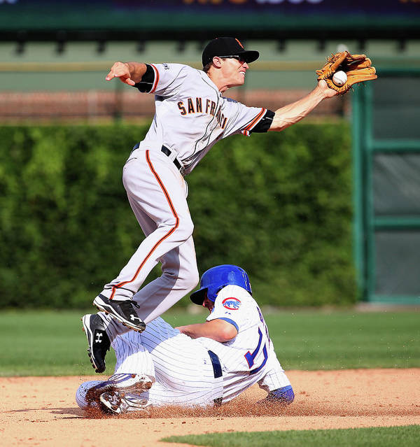 People Art Print featuring the photograph Kelby Tomlinson And Kris Bryant by Jonathan Daniel