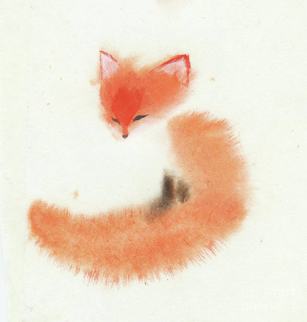 A Little Red Fox Sitting Alone. This Is A Simple Contemporary Chinese Brush Painting On Rice Paper. Art Print featuring the painting Little Fox II by Mui-Joo Wee
