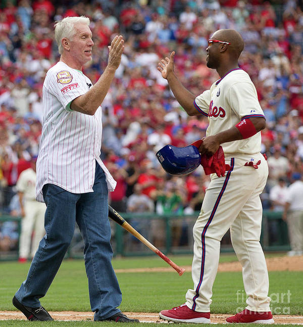 Citizens Bank Park Art Print featuring the photograph Mike Schmidt and Jimmy Rollins by Mitchell Leff