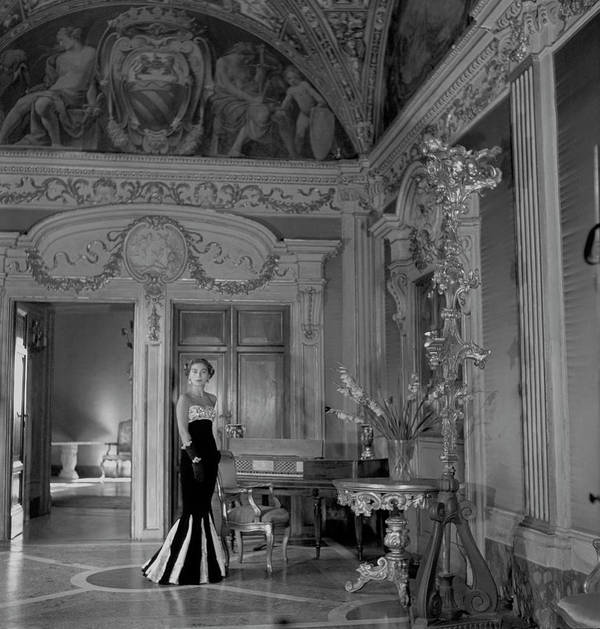Interior Art Print featuring the photograph Princess del Drago in the Palazzo Orsini by Clifford Coffin