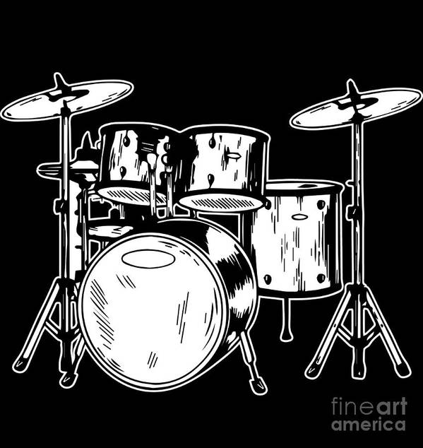 Drummer Art Print featuring the digital art Tempo Music Band Percussion Drum Set Drummer Gift by Haselshirt