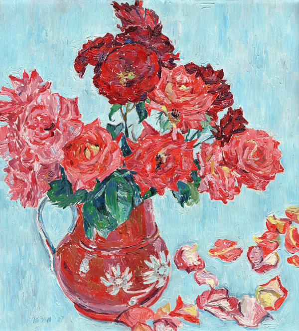 Rose Art Print featuring the mixed media Vase with pink roses still life impressionism impasto painting by Vitali Komarov