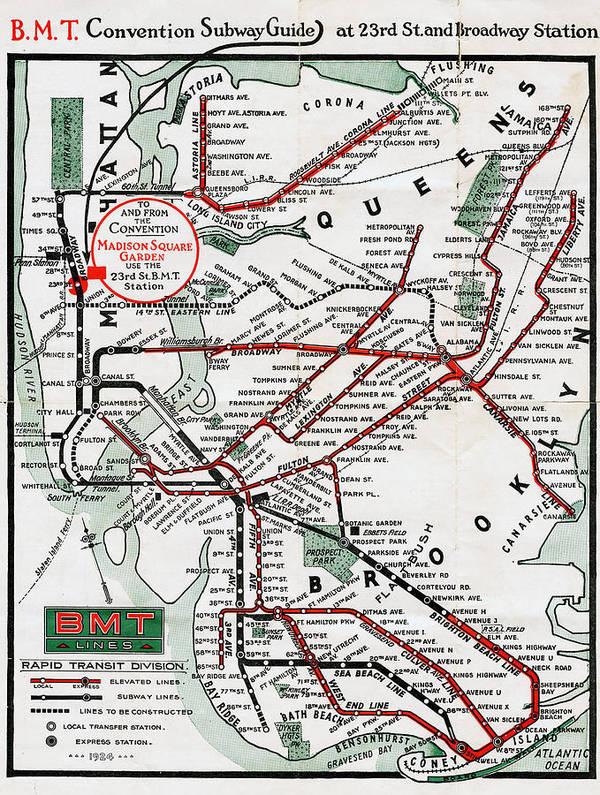 Bmt Subway Map.1924 Map Brooklyn Manhattan Transit Art Print