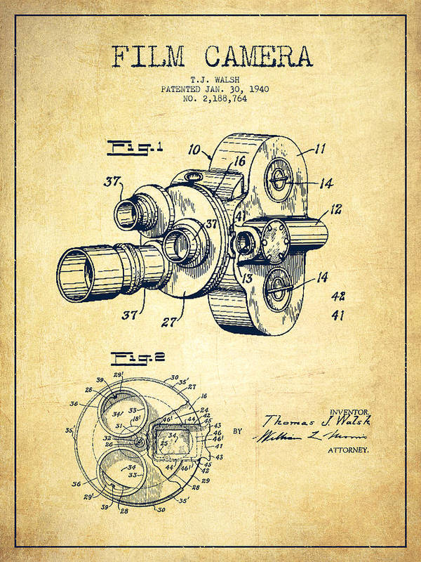 Film Camera Patent Drawing from 1938 by Aged Pixel