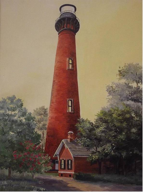 Lighthouse Art Print featuring the painting Currituck Lighthouse by Wanda Dansereau