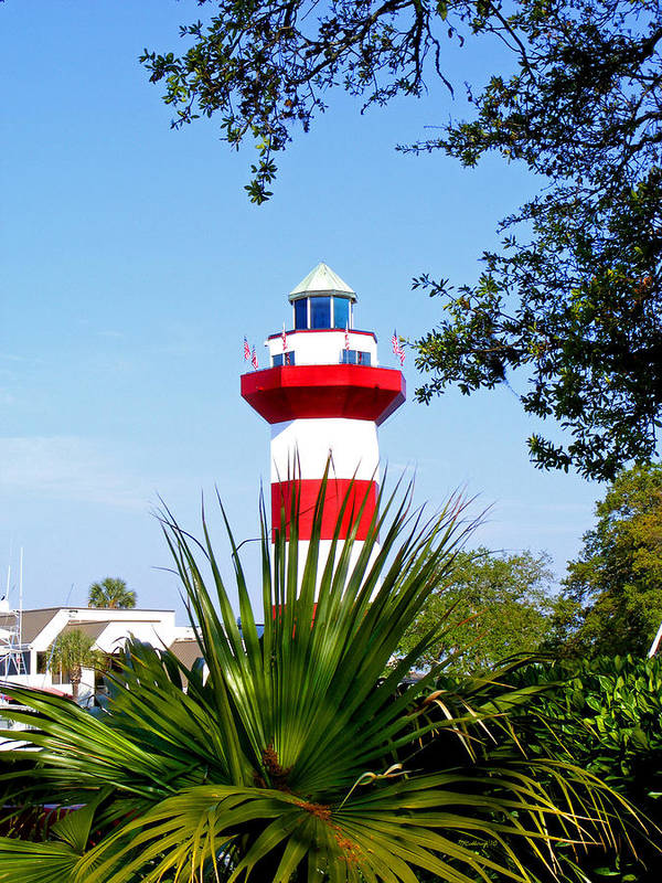 Hilton Head Art Print featuring the photograph Hilton Head Lighthouse And Palmetto by Duane McCullough