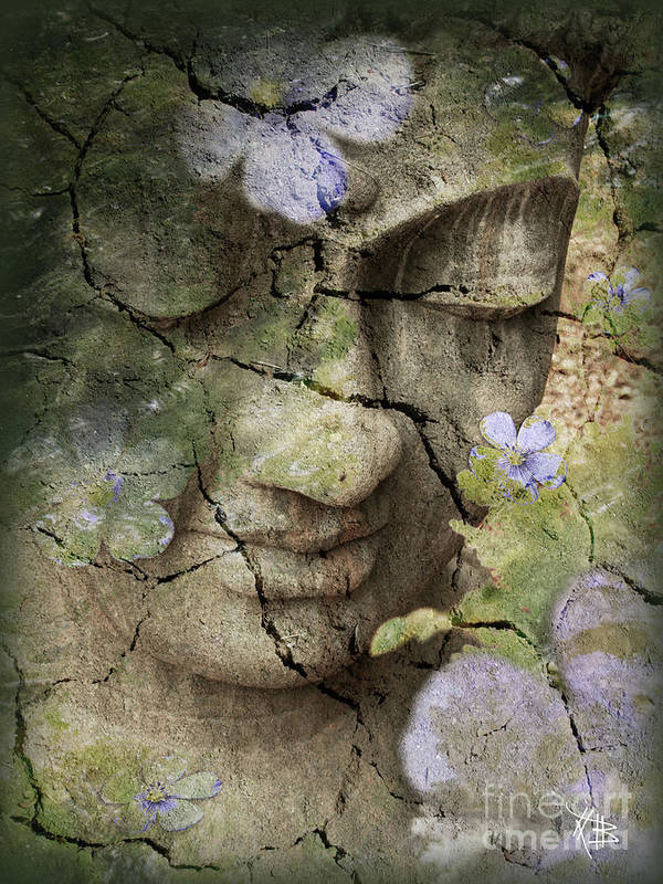 Buddha Art Print featuring the mixed media Inner Tranquility by Christopher Beikmann