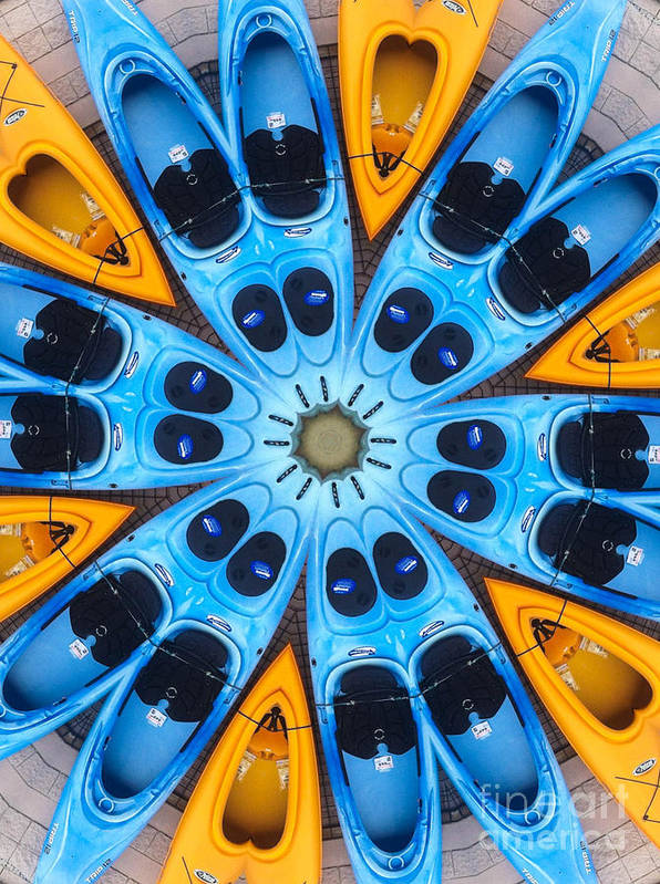 Boat Print featuring the digital art Kaleidoscope Canoes by Amy Cicconi