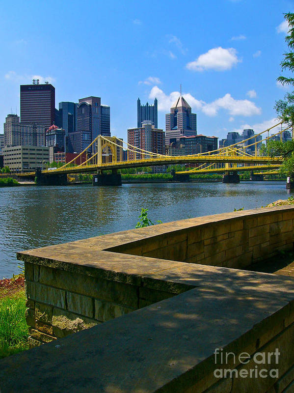 6th Street Bridge Print featuring the pyrography Pittsburgh Pennsylvania Skyline And Bridges As Seen From The North Shore by Amy Cicconi