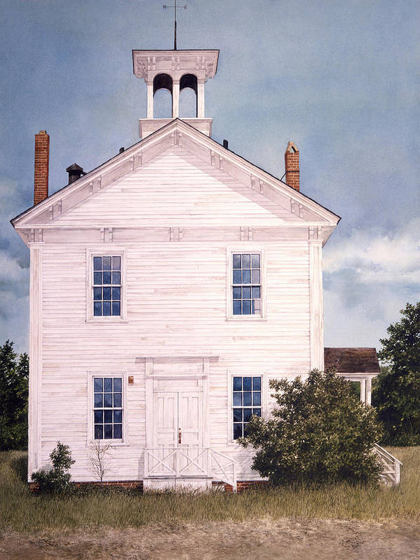 Landscape Art Print featuring the painting Schoolhouse by Tom Wooldridge