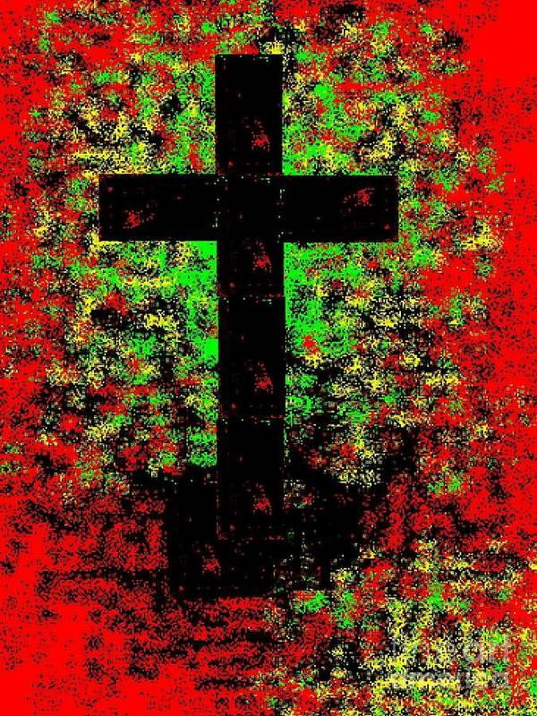 Modern Art Print featuring the painting The Potted Cross by Israel A Torres