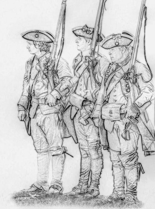 Royal Americans Art Print featuring the digital art Three Royal American Soldiers Sketch by Randy Steele
