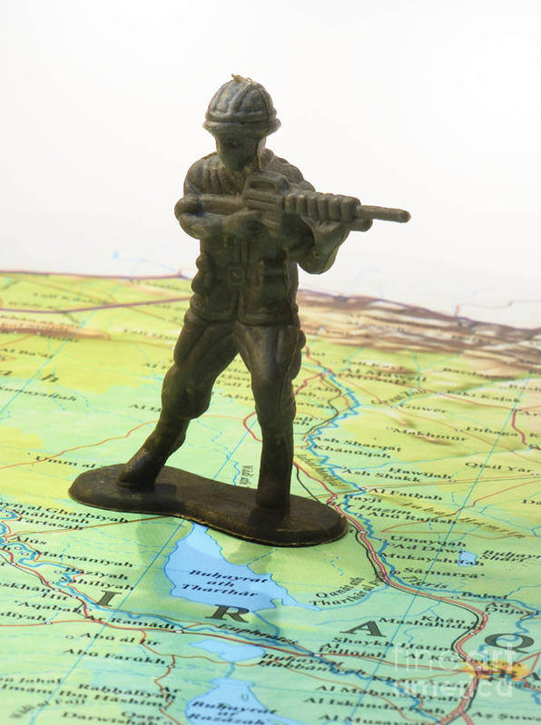 Aggression Art Print featuring the photograph Toy Solider On Iraq Map by Amy Cicconi