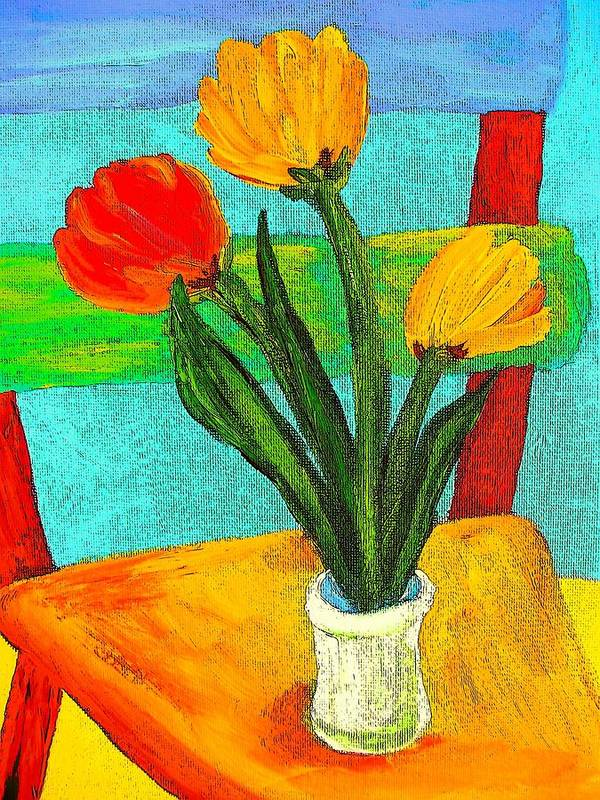 Tulips Art Print featuring the painting Tulips On A Chair by Mary ann Barker