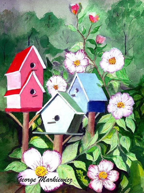 Birdhouse Art Print featuring the print Birdhouse by George Markiewicz